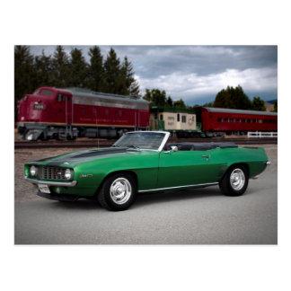 1969 Chevy Camaro Rag Top Muscle Car Postcard