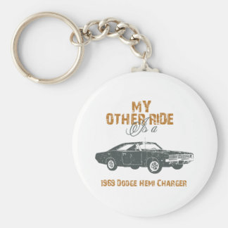 1969 Dodge Hemi Charger Basic Round Button Key Ring