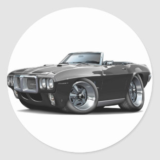 1969 Firebird Black Convertible Round Sticker
