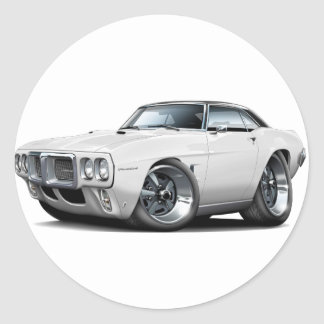 1969 Firebird White-Black Top Car Round Sticker