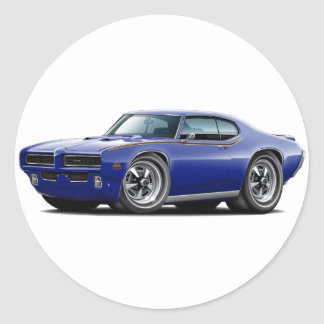 1969 GTO Judge Dark Blue Hidden Headlight Car Round Sticker