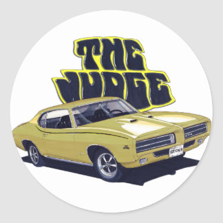 1969 GTO Judge Gold Car Round Sticker