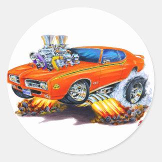 1969 GTO Judge Orange Car Classic Round Sticker