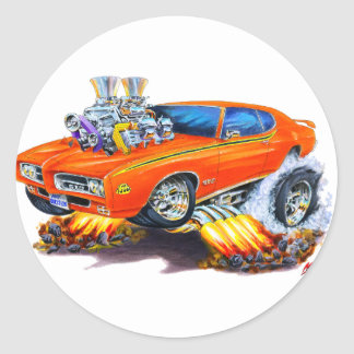 1969 GTO Judge Orange Car Round Sticker