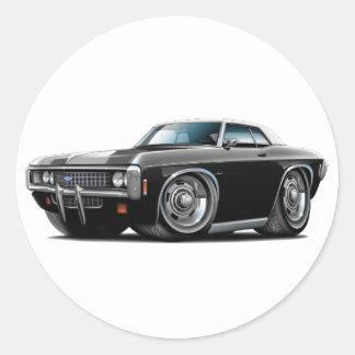 1969 Impala Black-White Top Car Classic Round Sticker