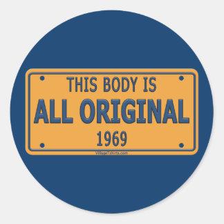 1969 Original Car Body Classic Round Sticker