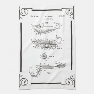 1969 patent drawing fish lure kitchen towel