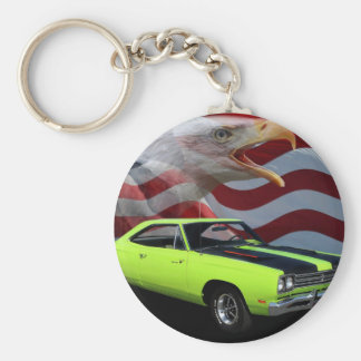1969 Plymouth Road Runner Tribute Basic Round Button Key Ring