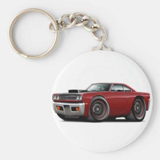 1969 Roadrunner Maroon-Black Hood Scoop Car Basic Round Button Key Ring