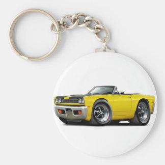 1969 Roadrunner Yellow-Black Hood Convertible Basic Round Button Key Ring