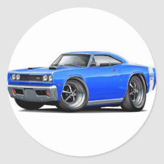 1969 Super Bee Blue-White Double Scoop Hood Classic Round Sticker