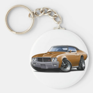 1970-72 Buick GS Brown Black Top Car Basic Round Button Key Ring