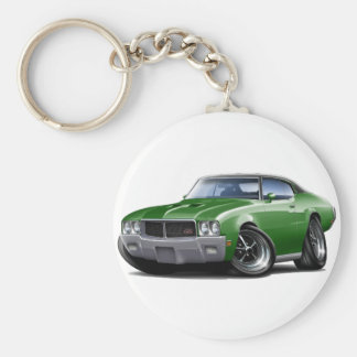 1970-72 Buick GS Green Black Top Car Basic Round Button Key Ring
