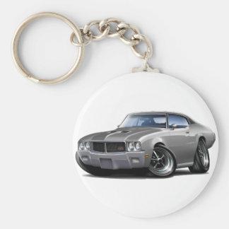 1970-72 Buick GS Grey Black Top Car Basic Round Button Key Ring