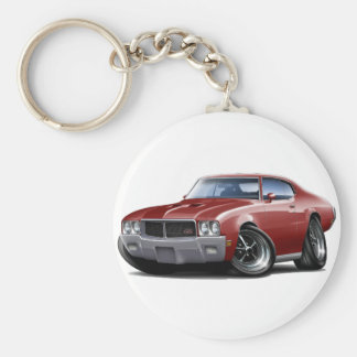 1970-72 Buick GS Maroon Car Basic Round Button Key Ring
