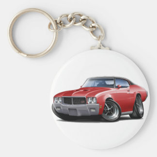 1970-72 Buick GS Red Black Top Car Basic Round Button Key Ring