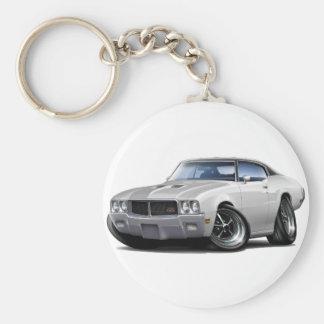 1970-72 Buick GS White Black Top Car Basic Round Button Key Ring