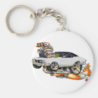1970-72 Buick GS White Car Basic Round Button Key Ring