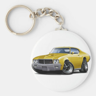 1970-72 Buick GS Yellow Car Basic Round Button Key Ring