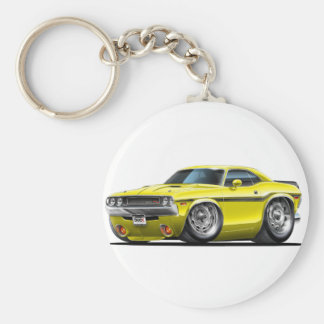 1970-72 Challenger Yellow Car Basic Round Button Key Ring