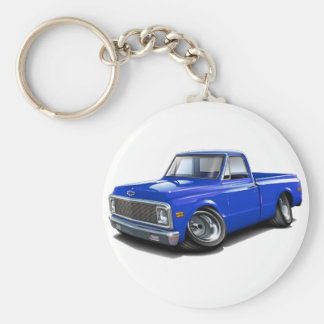 1970-72 Chevy C10 Blue Truck Basic Round Button Key Ring