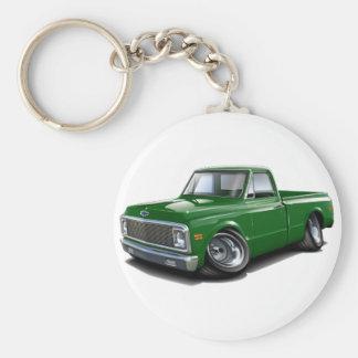 1970-72 Chevy C10 Green Truck Basic Round Button Key Ring