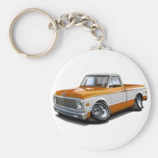 1970-72 Chevy C10 Orange-White Truck Basic Round Button Key Ring