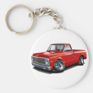 1970-72 Chevy C10 Red Truck Basic Round Button Key Ring