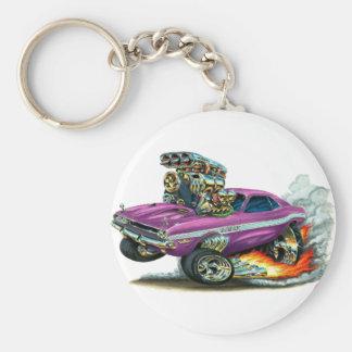 1970-72 Dodge Challenger Purple Car Basic Round Button Key Ring
