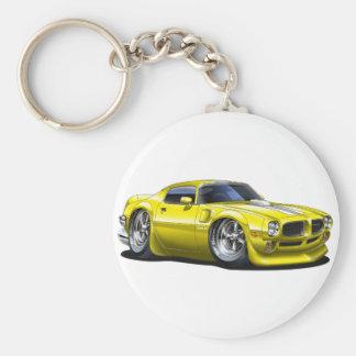 1970/72 Trans Am Yellow Car Basic Round Button Key Ring
