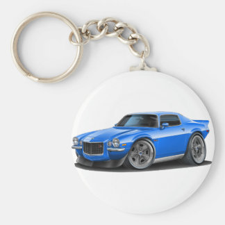 1970-73 Camaro Blue Car Basic Round Button Key Ring