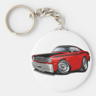 1970-74 Duster 340 Red Car Basic Round Button Key Ring