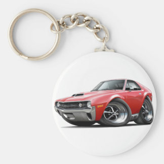 1970 AMX Red Car Basic Round Button Key Ring