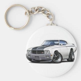 1970 Buick GSX White Car Basic Round Button Key Ring