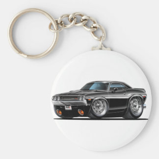 1970 Challenger Black Car Basic Round Button Key Ring