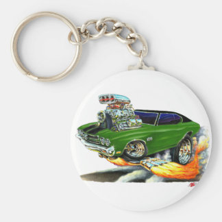 1970 Chevelle Green-Black Car Basic Round Button Key Ring