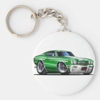 1970 Chevelle Green-White Car Basic Round Button Key Ring