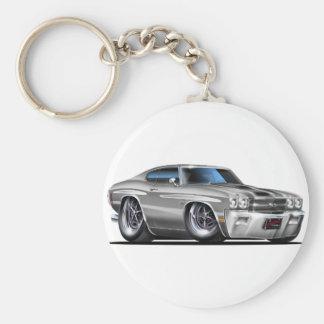1970 Chevelle Silver-Black Car Basic Round Button Key Ring