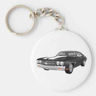 1970 Chevelle SS: Black Finish: Basic Round Button Key Ring