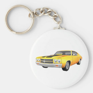 1970 Chevelle SS: Yellow Finish: Basic Round Button Key Ring