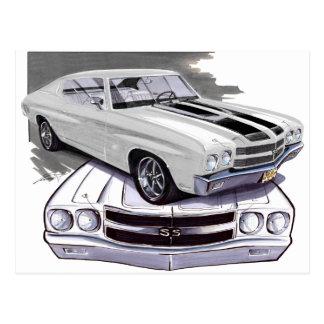 1970 Chevelle White-Black Car Postcard