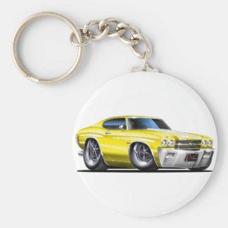 1970 Chevelle Yellow-White Car Basic Round Button Key Ring