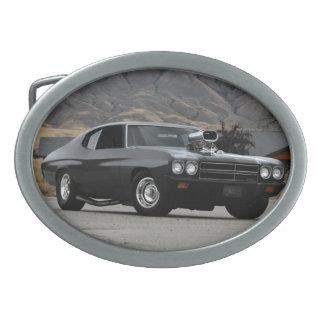 1970 Chevy Chevelle Drag Muscle Car Oval Belt Buckles