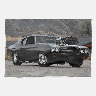 1970 Chevy Chevelle Drag Muscle Car Tea Towel