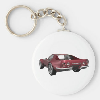 1970 Corvette Sports Car: Candy Apple Finish: Basic Round Button Key Ring