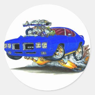 1970 GTO Blue Car Classic Round Sticker