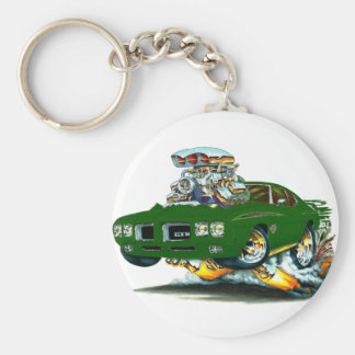 1970 GTO Judge Green Car Basic Round Button Key Ring