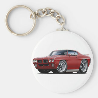1970 GTO Maroon Car Basic Round Button Key Ring