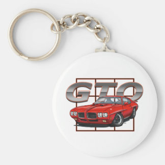 1970 GTO Red Basic Round Button Key Ring