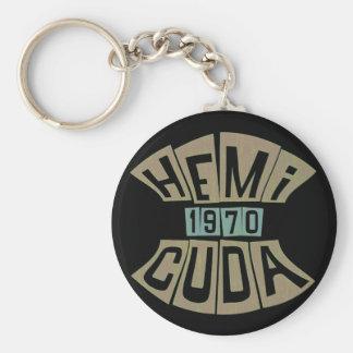 1970 HEMI CUDA BASIC ROUND BUTTON KEY RING